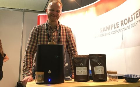 Tumi roasting his competition coffee on the IKAWA stand at Dublin WOC 2016