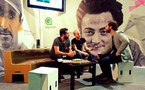 Alex with Christian and Gilles on the algrano stand during Dublin WOC 2016